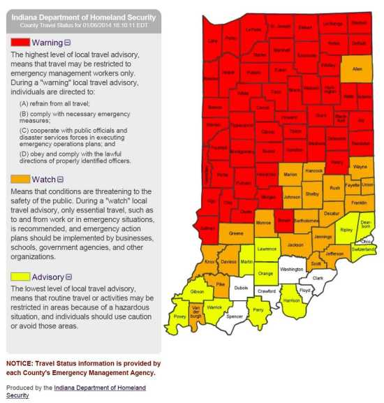 Local News: Travel Status by Indiana County, Map updated ... on greene county arkansas township map, sullivan county new york state map, clark county illinois plat map, indiana road construction map, indiana dunes national park map, indiana travel advisory, indiana weather alert map, unincorporated clark county nv map, status in county map, tippecanoe county plot map, randolph county missouri township map, clark county wi map, indiana interstate 65 mile markers map, indiana cities map, indiana department of homeland security map, indiana travel warnings, indiana highway map printable, indiana county snow emergency status, current indiana weather map, indiana county maps with roads,