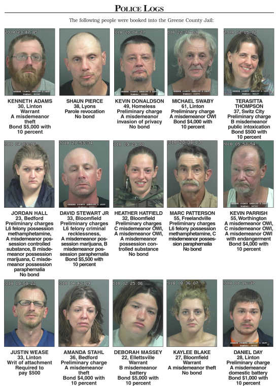 Police Reports: Greene County Sheriff's Department Jail Log (6/11/18