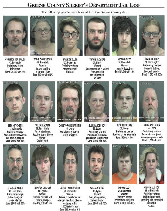 Police Reports: Greene County Sheriff's Department Jail Log